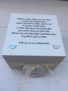 Shabby Personalised Chic Gift Will You Be My Bridesmaid / Maid Matron Of Honour